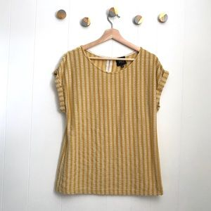 W5 Mustard Top w/ White dashes rolled sleeves | L